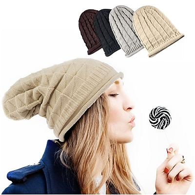 Zodaca Winter Women's Oversized Triangle Pattern Baggy Hat Crochet Beanie Knit Cap Warm Hats - Beige