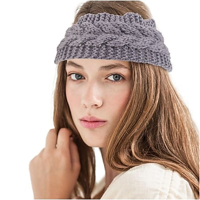 Zodaca Ladies Winter Crochet Knit Knitted Warmer Headband Hairband Headwrap Ear Band - Light Gray