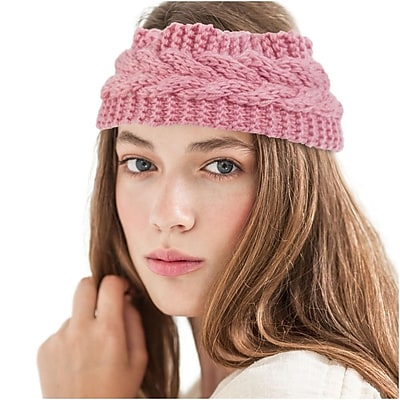 Zodaca Ladies Winter Crochet Knit Knitted Warmer Headband Hairband Headwrap Ear Band - Light Pink