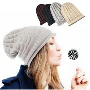 Zodaca Winter Women's Oversized Triangle Pattern Baggy Hat Crochet Beanie Knit Cap Warm Hats - Light Gray