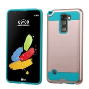 Insten Hard Dual Layer Rubber Silicone Case For LG G Stylo 2 / Stylus 2 - Rose Gold/Teal