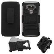 Insten Hard Hybrid Plastic Silicone Cover Case w/stand/Holster For LG G5 - Black/Gray