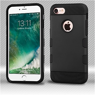 Insten Rubberized Black/Black TUFF Trooper Hybrid Dual Layer Case Cover for Apple iPhone 7