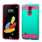 Insten Hard Dual Layer Rubber Silicone Case For LG G Stylo 2 / Stylus 2 - Teal/Hot Pink