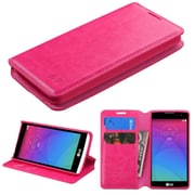 Insten Folio Leather Fabric Case w/stand/card slot For LG Leon - Hot Pink