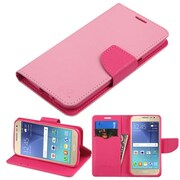Insten Flip Leather Fabric Cover Case w/stand/card holder For Samsung Galaxy J2 (2016) - Pink
