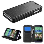 Insten Flip Leather Fabric Cover Case w/stand/card holder For HTC Desire 510 - Black