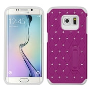 Insten Hard Hybrid Rubber Coated Silicone Cover Case with Stand/Diamond For Samsung Galaxy S6 Edge - Purple/White