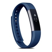 Zodaca For Fitbit Alta, Large L Size TPU Rubber Wristband Replacement Sports Watch Wrist Band Strap w/ Clasp, Navy