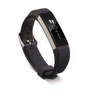 Zodaca For Fitbit Alta - TPU Rubber Wristband Replacement Sports Watch Wrist Band Strap w/ Metal Buckle Clasp - Black