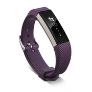 Zodaca For Fitbit Alta - TPU Rubber Wristband Replacement Sports Watch Wrist Band Strap w/ Metal Buckle Clasp - Purple