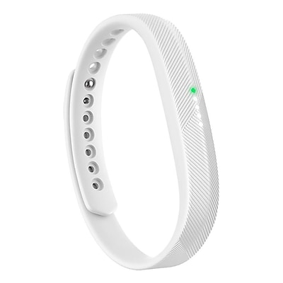 Zodaca For Fitbit Flex 2 - Large L Size TPU Rubber Wristband Replacement Wrist Band Sport Strap with Clasp - White