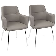 LumiSource Andrew Contemporary Dining / Accent Chair in Grey PU (CH-ANDRW GY2)