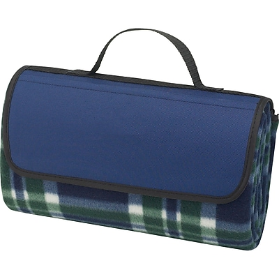 Natico Blue Fleece with PVC Backing Picnic Blanket (60-7700-BL)