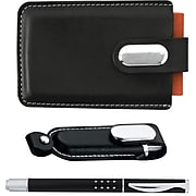 Natico Black Faux Leather and Brass Executive 4GB USB Gift Set (60-1339-SET)