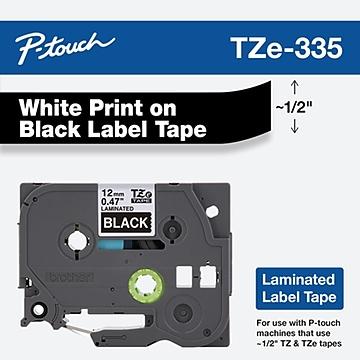 "Brother TZ-E335 Label Maker Tape, 0.47""W, White On Black"