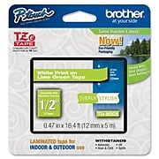 """Brother TZEMQG35 Label Maker Tape, 0.47""""W, White On Lime Green"""