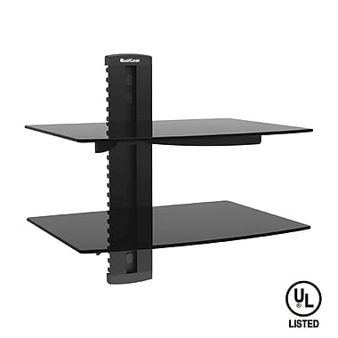 QualGear® QG-DB-002-BLK Universal Double Shelf Wall Mount for A/V Components upto 8kgs/17.6lbs(x2), Black