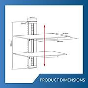 QualGear® QG-DB-002-BLK Universal Double Shelf Wall Mount for A/V Components upto 8kgs/17.6lbs(x2), Black