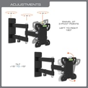 "QualGear Universal Low Profile Full Motion Wall Mount for TVs 13"" to 27"" (QG-TM-007-BLK)"