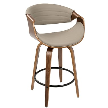 LumiSource Symphony Mid Century Modern Counter Stool in Walnut and Grey PU (B26-SYMP WL+GY)
