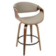 LumiSource Symphony Mid-Century Modern Counter Stool+ in Walnut and Grey PU (B26-SYMP WL+GY)