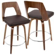 LumiSource Trilogy Mid-Century Modern Counter Stool in Walnut Wood and Brown PU (CS-TRILO WL+BN)