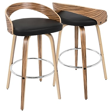 LumiSource Grotto Mid Century Modern Barstool in Zebra Wood and Black PU (BS-JY-GRT ZB+BK)