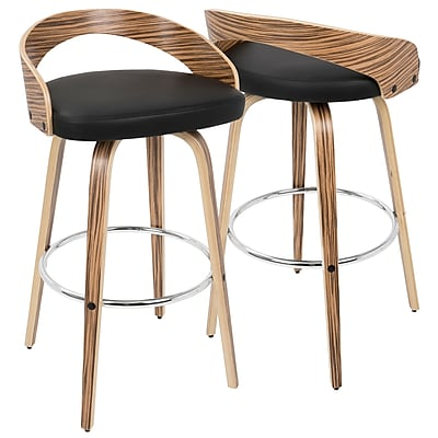 LumiSource Grotto Mid-Century Modern Barstool in Zebra Wood and Black PU (BS-JY-GRT ZB+BK)