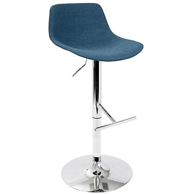 LumiSource Tazza Contemporary Adjustable Barstool in Blue Fabric (BS-TAZZA BU)