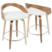 LumiSource Grotto Mid-Century Modern Counter Stool in Zebra Wood and White PU (CS-JY-GRT ZB+W)