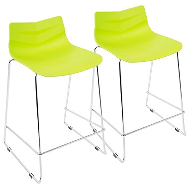 LumiSource Arrow Contemporary Counter Stool in Lime Green, 2/Set (CS-ARROW LG2)