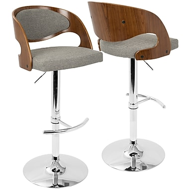 LumiSource Pino Mid Century Modern Adjustable Barstool with Swivel in Walnut and Grey (BS-JY-PN WL+GY)