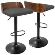 LumiSource Maya Mid-Century Modern Adjustable Barstool in Walnut Wood and Charcoal Fabric (BS-MAYA WL+CHAR)