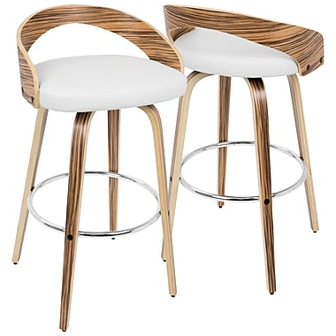 LumiSource Grotto Mid Century Modern Barstool in Zebra Wood and White PU (BS-JY-GRT ZB+W)