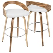 LumiSource Grotto Mid-Century Modern Barstool in Zebra Wood and White PU (BS-JY-GRT ZB+W)