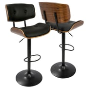 LumiSource Lombardi Mid-Century Modern Adjustable Barstool in Walnut and Black (BS-JY-LMB WL+BK)