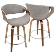 LumiSource Curvini Mid-Century Modern Counter Stool in Walnut Wood and Light Grey Fabric (CS-CRVNI WL+LGY)