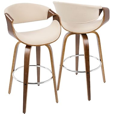 LumiSource Curvini Mid Century Modern Barstool in Walnut Wood and Cream Fabric (BS-CRVNI WL+CR)