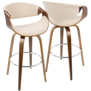 LumiSource Curvini Mid-Century Modern Barstool in Walnut Wood and Cream Fabric (BS-CRVNI WL+CR)
