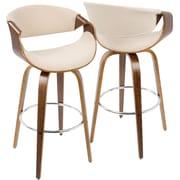 LumiSource Curvini Mid-Century Modern Barstool in Walnut Wood and Cream Fabric (BS-CRVNI WL+CR)