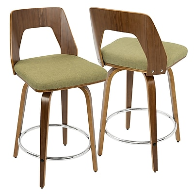 LumiSource Trilogy Mid-Century Modern Counter Stool in Walnut Wood and Vintage Green Fabric (CS-TRILO WL+GN)