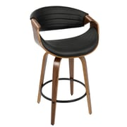 LumiSource Symphony Mid-Century Modern Counter Stool+ in Walnut and Black PU (B26-SYMP WL+ BK)