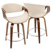 LumiSource Curvini Mid-Century Modern Counter Stool in Walnut Wood and Cream Fabric (CS-CRVNI WL+CR)
