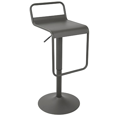 LumiSource Emery Uptown Industrial Adjustable Barstool in Matte Grey (BS-EMRUP GY)
