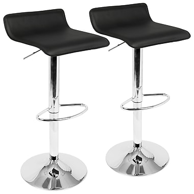 LumiSource Ale Contemporary Adjustable Barstool in Black with Chrome footrest, 2/Set (BS-ALE BK2)