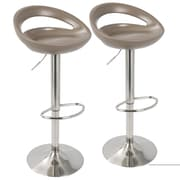 LumiSource Swizzle Contemporary Adjustable Barstool in Light Brown with Stainless Steel Finish-Set of 2 (BS-SWZL LBN2)