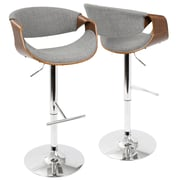 LumiSource Curvo Mid-Century Modern Adjustable Barstool in Walnut and Light Grey with Swivel (BS-CURVO WL+LGY)