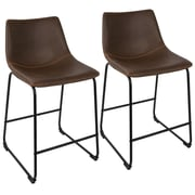 "LumiSource Duke Industrial 26"" Counter Stool+ in Black and Espresso with Orange Stitch-Set of 2 (B26-DUKZ BK+E2)"