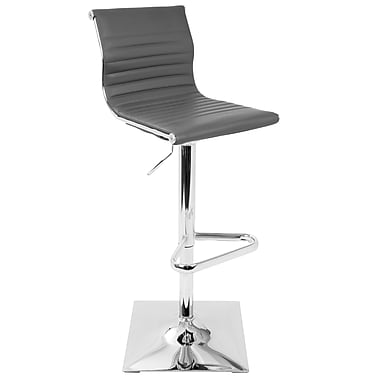 LumiSource Master Contemporary Height Adjustable Barstool with Swivel in Grey (BS-MASTER GY)